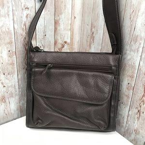 Vintage chocolate pebble leather shoulder bag